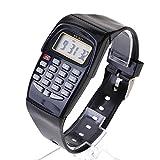 VANKER - Reloj de calculadora digital de 8 dígitos de luz LED, Negro