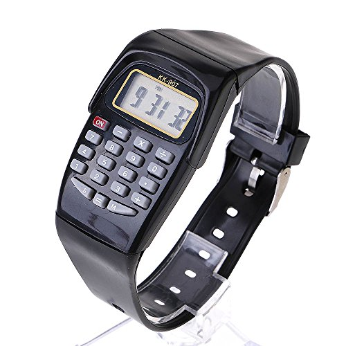 HuaYang Armbanduhr Unisex, mit Taschenrechner, multifunktional, Schwarz