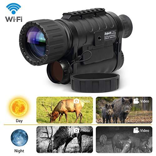 Bestguarder - WiFi Digitales Zielfernrohr mit Nachtsicht 6 x 50 mm Nachtsichtgerät Infrarot HD Kamera, 12 MP Fotos, 720p Video, bis zu 350 m/1150ft Erkennungsabstand, 1,5 Zoll TFT LCD