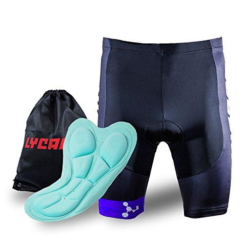 LYCAON Fahrrad-Radhose Gel Gepolsterte Shorts 3D Antibakteriell Coolmax Silica Gel Padding Biker Shorts halbe Hosen für Rennrad Mountainbike MTB Shorts Fahrradbekleidung Männer Frauen (Blau, XL)