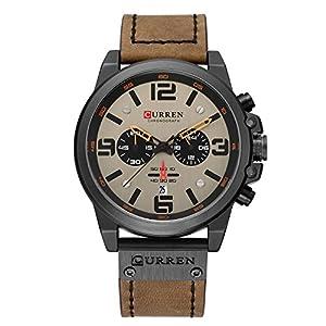 Curren Herren Quartz Uhren, Casual Analoge Quartzuhr, Multifunktionale Militär Sport Wristwatch, Wasserdicht Lederarmband mit Datumsanzeige 8314