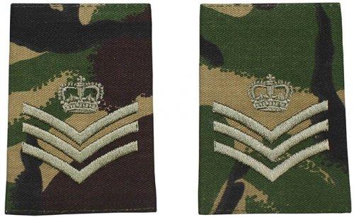 Brit. Schulterklappen, DPM, 10 Paar, STAFF SERGEANT