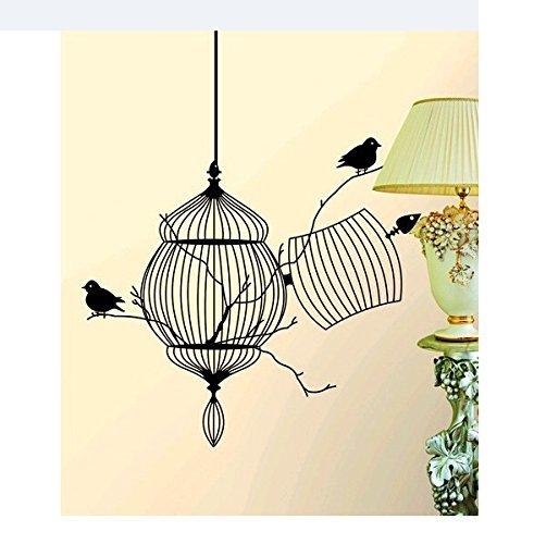 Romote Arte de la Pared Pegatinas - Tatuajes de Pared - Tapetes de 45 * 40 cm Jaula de pájaros Pared Stickerfor Decoración Decoración - Salón Baño Cocina Dormitorio Oficina