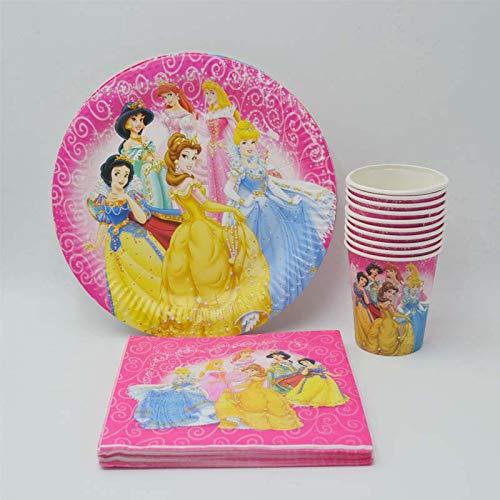 40 Teile/Satz Party Supplies Ariel/Schneewittchen/Belle/Cinderella/Aurora Prinzessin Birthday Party Platte/Serviette Dekoration Ariel Party (Belle Party Supplies)