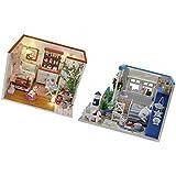 MagiDeal 2 Juegos Artesanía de Bricolaje en Miniatura Kit Mueble Decoración de Dollhouse con Cubierta de Polvo
