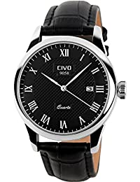 amazon co uk under £25 watches civo men s luxury black genuine leather band date calendar wrist watch mens casual business analogue quartz waterproof wrist
