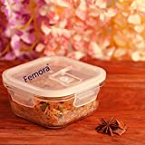 Femora Borosilicate Square Glass Food Storage Container Container With Air Vent Lid -300
