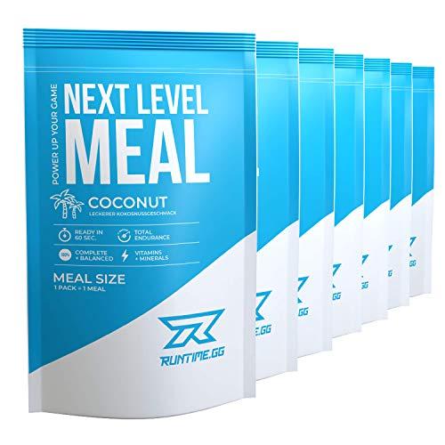 Runtime Next Level Meal Kokosnuss - vollwertiger Mahlzeitersatz für langanhaltende Sättigung, Energie, Konzentration und Leistungsfähigkeit, mit Vitaminen und Nährstoffen, 7 x 150g -