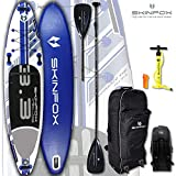 SKINFOX Seahorse aufblasbares SUP Board 4-lagig Paddelboard Stand Up NEUESTE SUP Generation 4 TECH L-CORE (335x78x15/Tragkraft 175 kg) Carbon-Set blau (Board,Bag,Pumpe+Carbon SUP-/Kayak Paddel)