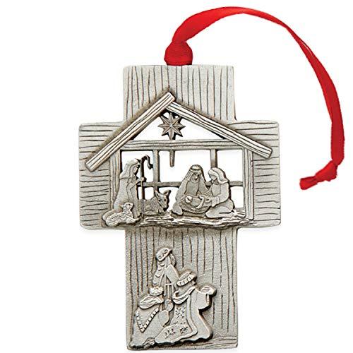 Christbaumschmuck Christus der Erlöser ist geboren Rosy, 3 x 2 cm, Zinn, Rot