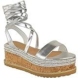 Damen Espadrille-Sandalen mit Keilabsatz & Schnürung - Kork-Plateausohle - Silberfarbenes Metallic-Design - EUR 37