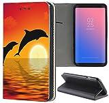 Samsung Galaxy S3 / S3 Neo Hülle Premium Smart Einseitig Flipcover Hülle Samsung S3 Neo Flip Case Handyhülle Samsung S3 Motiv (1540 Delfin Delphine Meer Cartoon Sonne)