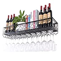 Vbndf Wine Glass Rack Hanging Goblet Rack Creative Red Wine Cup Rack Upside Down Restaurant Wrought Iron Rack Wall Hanging Wine Rack A++ (Color : Black, Size : 60X25CM)