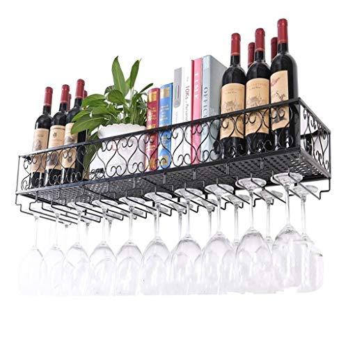 LKK Weinregal Wand hängen Speicherregal Weinflaschen Halter hängen auf den Kopf Cup Gläser Rack