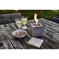 Beske-Betonfeuer mit 'Dauerdocht' | Größe 10x10x10 cm | Wiederbefüllbare Gartenfackel | 'Unendliche' Brenndauer durch umweltfreundliches Recycling von Kerzenwachs