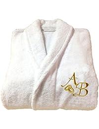 Albornoz blanco de 5 estrellas con bordado de oro, regalo de aniversario de bodas personalizado y de alta calidad, 100% algodón, Blanco, Large