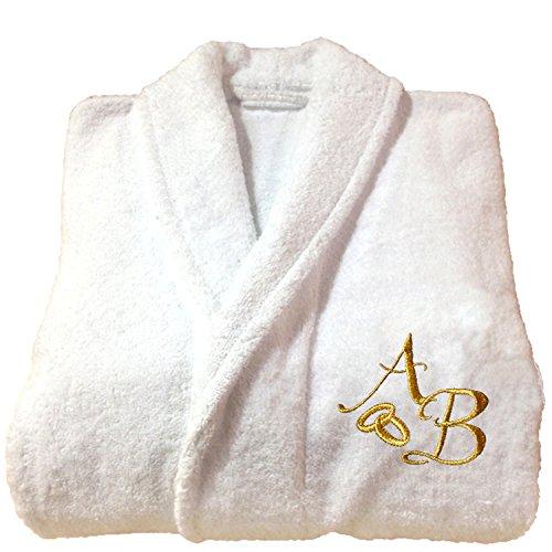 5stelle top quality personalizzato regalo di nozze anniversario oro bianco accappatoio con ricamo, 100% cotone, white, large