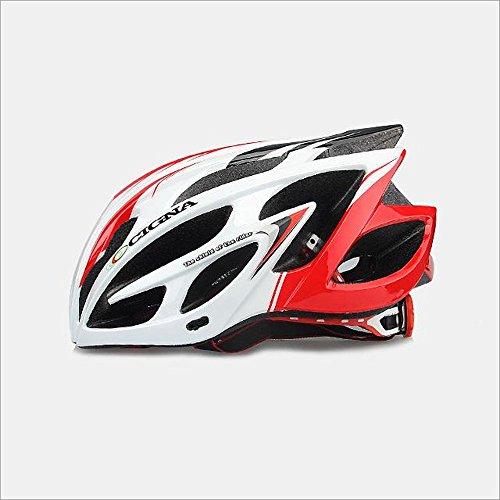 253g Ultra léger poids-Eco-Friendly super léger intégralement casque de vélo, Premium qualité Airflow casque de vélo spécialisé pour la route et le vélo de montagne - Casques certifiés de sécurité pour les hommes et femmes adultes, garçons et filles - Confortable, léger, respirant ( Couleur : White and red )