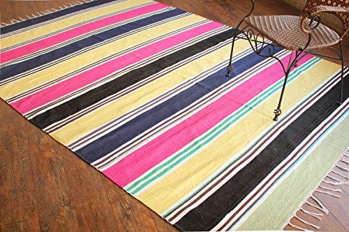Alfombra de tejido reversible tejido 100% algodón orgánico con tintes vegetales. Estampado a rayas multicolor. Multicolorido, Tapete de algodão às riscas.Alfombra de corredor. Medidas: 180x240 cm (6'x8') /Código: 00116