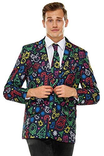 Chaqueta de traje de Navidad, blazer de fiesta, con estampado de festival, ajuste normal, para hombre...