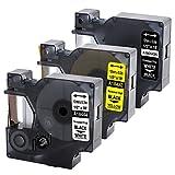 Rhino Industrie Vinyletiketten 18444 1805435 18432 kompatibelfür Dymo Rhino Industrial Printers 1000, 3000, 4200, 5000, 5200, 6000, schwarz auf weiß/ weiß auf schwarz/ schwarz auf gelb, 12 mm x 5.5 m, 3-pack