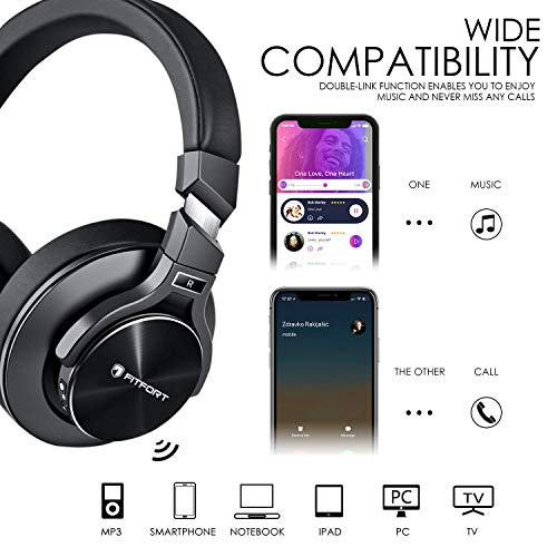 Bluetooth Kopfhörer Noise Cancelling – HiFi Stereo Drahtlose Headset Over Ear mit Mikro Lautstärkeregler für Alle Geräte mit Bluetooth oder 3,5 mm Klinkenstecker - 4
