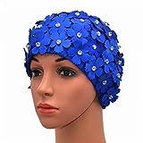 Medifier Cuffia da nuoto in stile rétro con strass e motivo floreale, da donna, donna, Blue, one size fit all