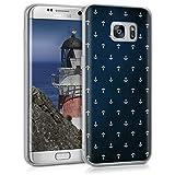 kwmobile Samsung Galaxy S7 Edge Hülle - Handyhülle für Samsung Galaxy S7 Edge - Handy Case in Weiß Dunkelblau