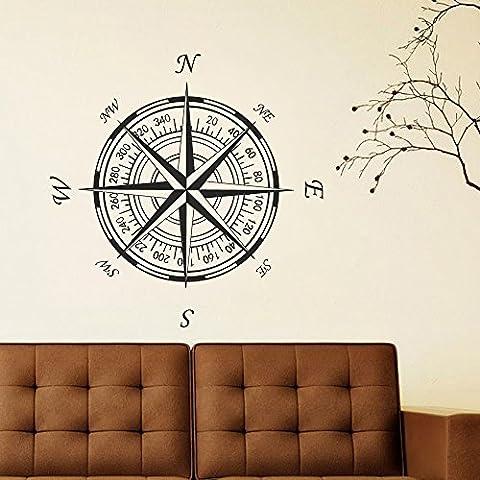 Decalcomania da parete con rosa dei venti in vinile parete o soffitto Nautical Compass Rose adesivi da parete vinile adesivo da parete (30
