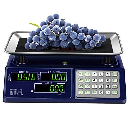 LLRDIAN Básculas electrónicas de Plataforma. Escala de Precios con un Peso de 30 KG. Escala de Peso de Frutas y Verduras.