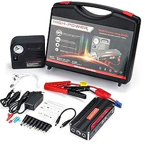 HelpAccess 600A Arrancador del Salto (Motor 6,0L Gas / 5L Diesel) Acelerador de Batería de 12V con 4 USB 5/9/12V Quick…