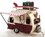 Wohnwagen aus Metall rot mit Rahmen und Spardose Camper Auto Oldtimer Nostalgie