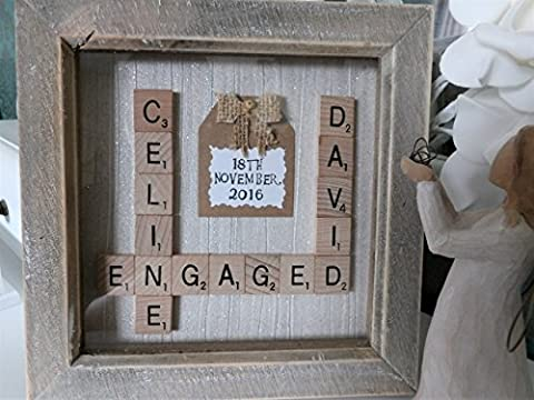 Personalised Scrabble Frame for Wedding Engagement Anniversary 6x6 Inch Box Frame. Any Names Date Words Personalised Family frame wall art, personalised Anniversary gift, scrabble tiles, handmade gift, home