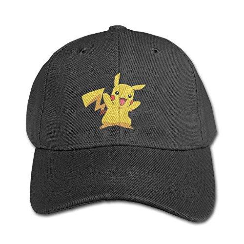 een Pikachu Pokemon Kinder Kind Schirmmütze Jungen Mädchen Baseballmütze Einstellbar Unisex Schwarz ()