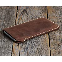 Dark brown leather cover for iPhone XS X case sleeve pouch shell