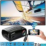 C-TK Silent drahtloser Projektor WiFi Bluetooth 3500 Lumen, tragbare HD 1080pLED-Projektor, Android 6.0 Bluetooth 4.0 kann auf das Internet zugreifen, Spiele Spielen, 3D-Filme,Black