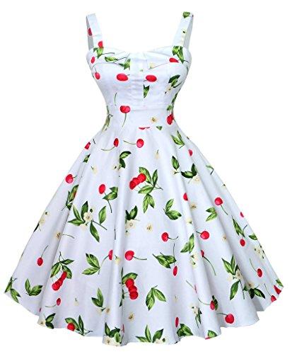 Eyekepper Robe femme demoisellede style des annees 1950 robe rockabilly vintage Blanc
