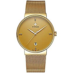 WWOOR Men's Ultra Thin Mesh Band Stainless Steel Male Elite Sports Wrist Watch with Date (Gold)