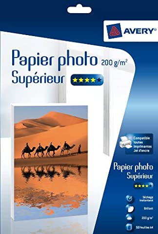 Avery 50 Feuilles de Papier Photo 200g/m² A4 - Impression Jet d'Encre - Brillant - Blanc (C9434)