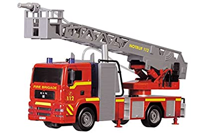 Dickie Toys 203715001 - City Fire Engine, Feuerwehrauto mit manueller Wasserspritze, 31 cm von Dickie-Spielzeug