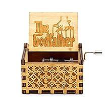 The Godfather in legno Scatola musicale - 18 Note Meccanismo Antique Laser Engrave Musical Boxs Artigianato Melody Castle in mano