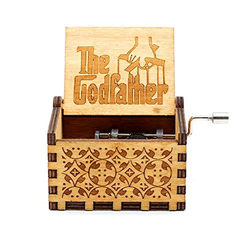 HLZK The Godfather Caja de música de madera, mecanismo de 18 notas, grabado láser antiguo, cajas musicales, manualidades, castillo de melodía en la mano