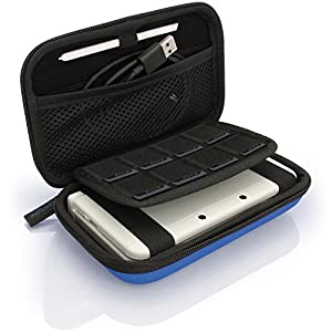 iGadgitz Blue EVA Hard Travel Carry Case Cover for New Nintendo 3DS XL (All versions) & 2DS XL 2017 with Clip On Carry Strap