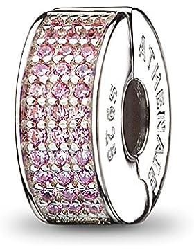 ATHENAIE 926 Silber Clip Spacer pflastern rosa CZ Emaille Charm passen alle europäischen Armbänder Halskette