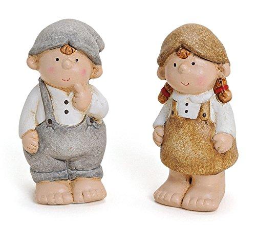 2 x Deko Figur Gartenfigur Mädchen und Junge im Set aus Ton grau weiß braun je 11 cm, witzige Dekofigur für Garten oder Fensterbrett