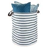 mDesign faltbare Aufbewahrungsbox mit 2 Griffen – große Faltbox aus Baumwoll-Polyester-Mischung im Streifen-Design – runde Stoffkiste mit wasserfester Innenbeschichtung – blau und weiß