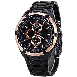 men's watch - CURREN Stainless steel men's fashion sports watch£¨coffee£©