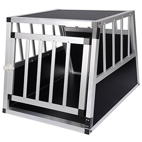 EUGAD Hundebox Hundetransportbox Aluminium Transportbox Alubox Hund 1 Türig Reisebox Gitterbox Schwarz HT2060