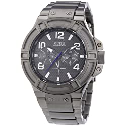 Guess Men's Quartz Watch with Black Dial Analogue Display and Black Stainless Steel Bracelet W0218G1