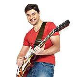 Sangle pour guitare acoustique-Doux coton sans diapositive Pendant jouer et coupe dans votre corps comme en nylon-Large Gamme de réglage et sécurité en cuir holes-suitable pour tous les âges-Design Classique